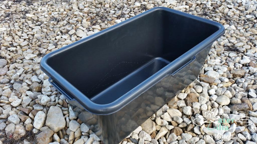 Купить прямоугольную емкость, контейнер для нимфей 65 литров